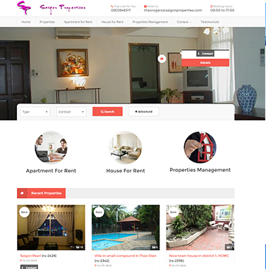 Thiết kế website bất động sản: saigonproperties